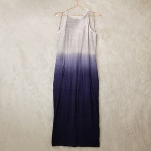 Athleta Striped Blue Ombre Midi Tank Dress
